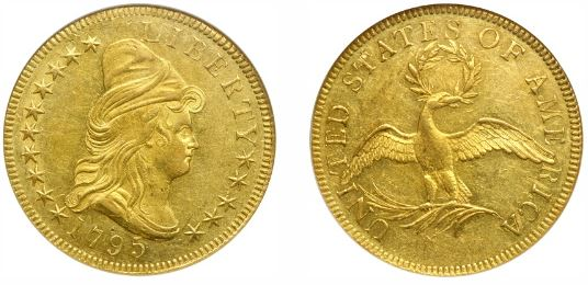 1795 $10 Gold 9 Leaves Eagle