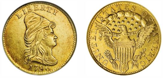 1796 Gold Capped Bust Quarter Eagle No Stars