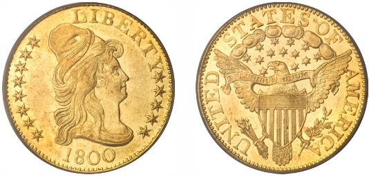 1800 $5.00 Gold Half Eagle coin