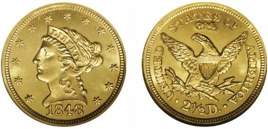 1848 CAL. $2.50 Quarter Eagle Gold Uncirculated