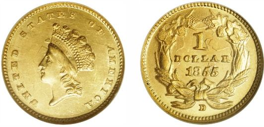1855-D Type 2 Gold Dollar