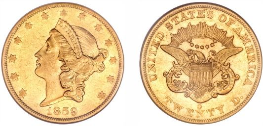 1859-O $20 Coronet Double Eagle gold