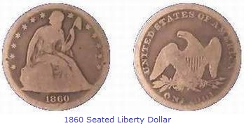 1860 Seated Liberty Dollar