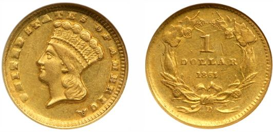 1861-D Dahlonega Civil War Gold Dollar