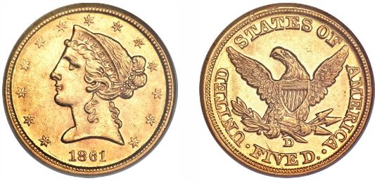 1861-D Dahlonega Civil War gold $5.00 Half Eagle
