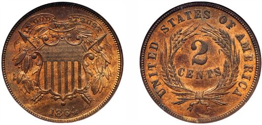 1864 Two Cent Small Motto Uncirculated