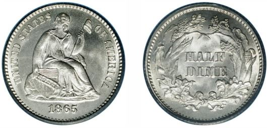 Uncirculated Seated Liberty Half Dime images