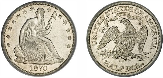 1870-CC Carson City Seated Liberty Half Dollar