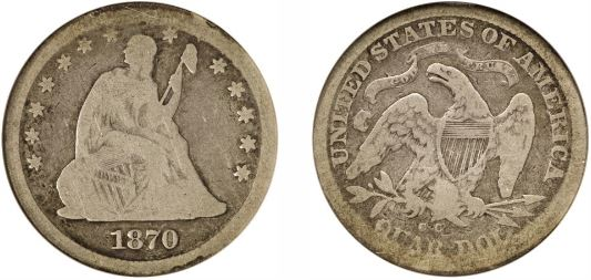 1870-CC Seated Liberty Quarter