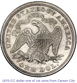 1870-CC dollar, one of the first coins from Carson City Mint