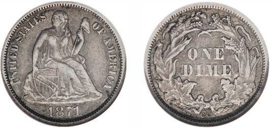 1871-CC Seated Liberty Dime photo