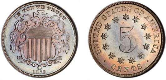 Uncirculated 1879 Shield Nickel picture
