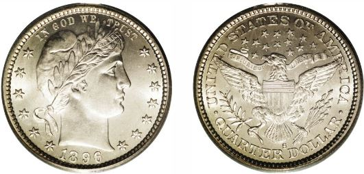 Uncirculated 1896-S Barber Quarter image