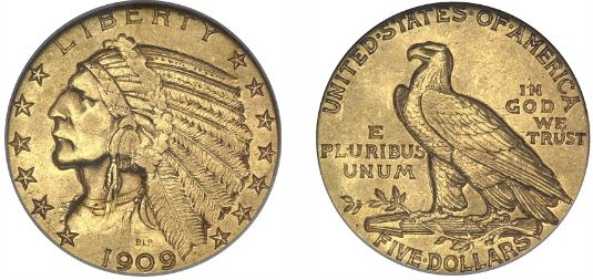 Gold 1909-O Indian Head Half Eagle