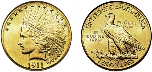 Gold 1911-D Indian Head $10 Eagle