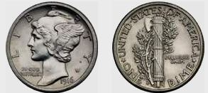 1916-D Mercury Dime Values