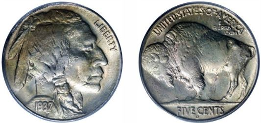 1937-D Three Leg Buffalo Nickel
