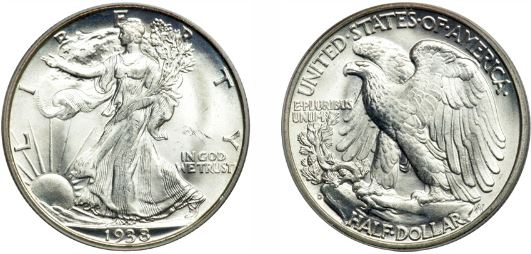 Uncirculated 1938-D Walking Liberty Half Dollar