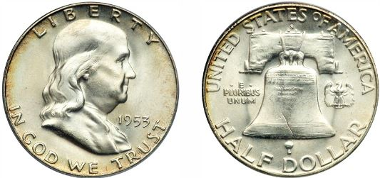 Uncirculated 1953-S Franklin Half Dollar