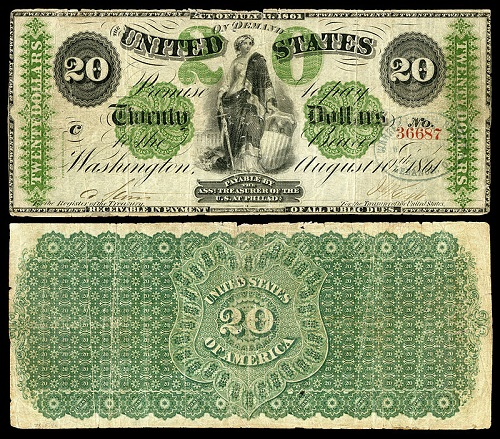 A $20 Greenback issued during Civil War