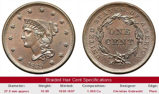 Braided Hair Large Cent