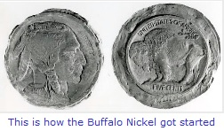 Buffalo Nickel clay models