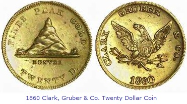 Clark, Gruber & Co. Twenty Dollar Gold Coin