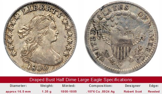 Draped Bust Large Eagle Half Dime