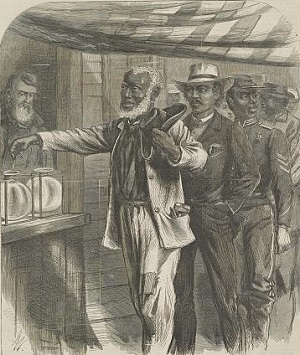 Black Americans casting votes during Reconstruction
