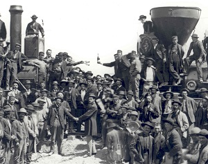 1869 completing the transcontinental railroad at Promontory Point, Utah