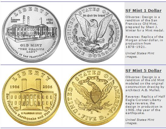 San Francisco Mint Commemorative Silver Dollar and Half Eagle
