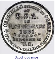 Scott Confederate Half Dollar Obverse