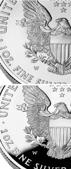 Silver American Eagle Proof Uncirculated Comparison