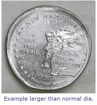 state quarter error broadstrike larger than normal diameter
