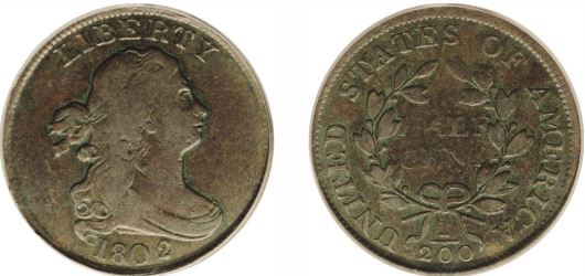 1802 2/0 Reverse 1802 Draped Bust Half Cent