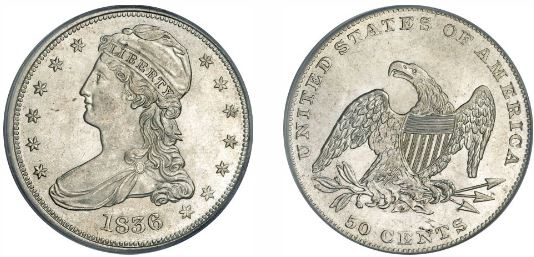 1836 Reeded Edge Capped Bust Half Dollar