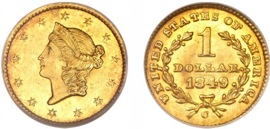 1849-C Closed Wreath Gold Dollar