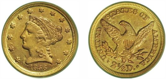 1856-D Dahlonega Gold $2.50 Quarter Eagle