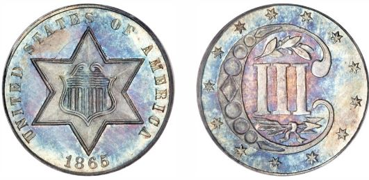 1865 Three Cent Silver Coin in One of 87 Key Dates in the