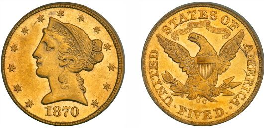 1870-CC $5.00 Rare Gold Half Eagle