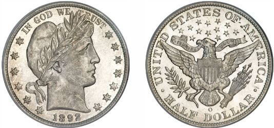 1892-O New Orleans Mint Barber Half Dollar