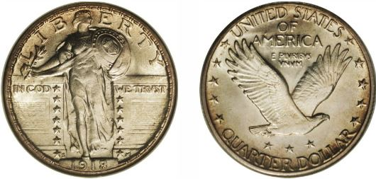 1918-S 8 over 7 Standing Liberty Quarter