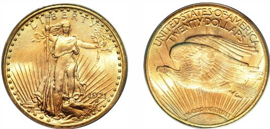 1921 Gold $20 St. Gaudens Double Eagle