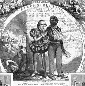Political cartoon criticizing Johnson's lenient Reconstruction plan