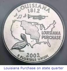 Louisiana Purchase shown on state quarter