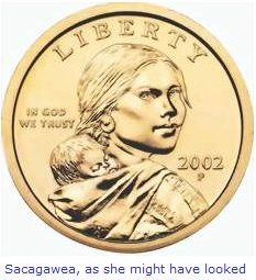 Sacagawea and Jean-Baptiste on the dollar coin