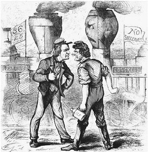 Andrew Johnson vs Thaddeus Stevens political cartoon 1866 election