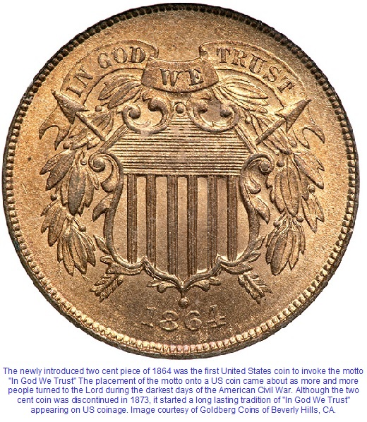 1864 Two Cent In God We Trust Motto