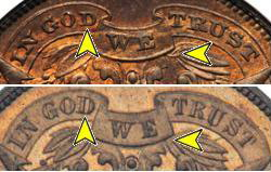 1864 Two Cent Large Motto Small Motto Comparison