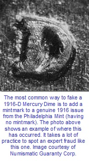 1916-D Mercury Dime fake